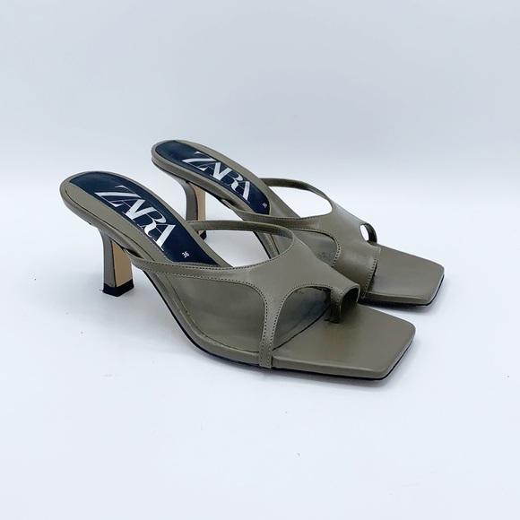 Zara Squared Toe Heeled Sandals Asymmetric